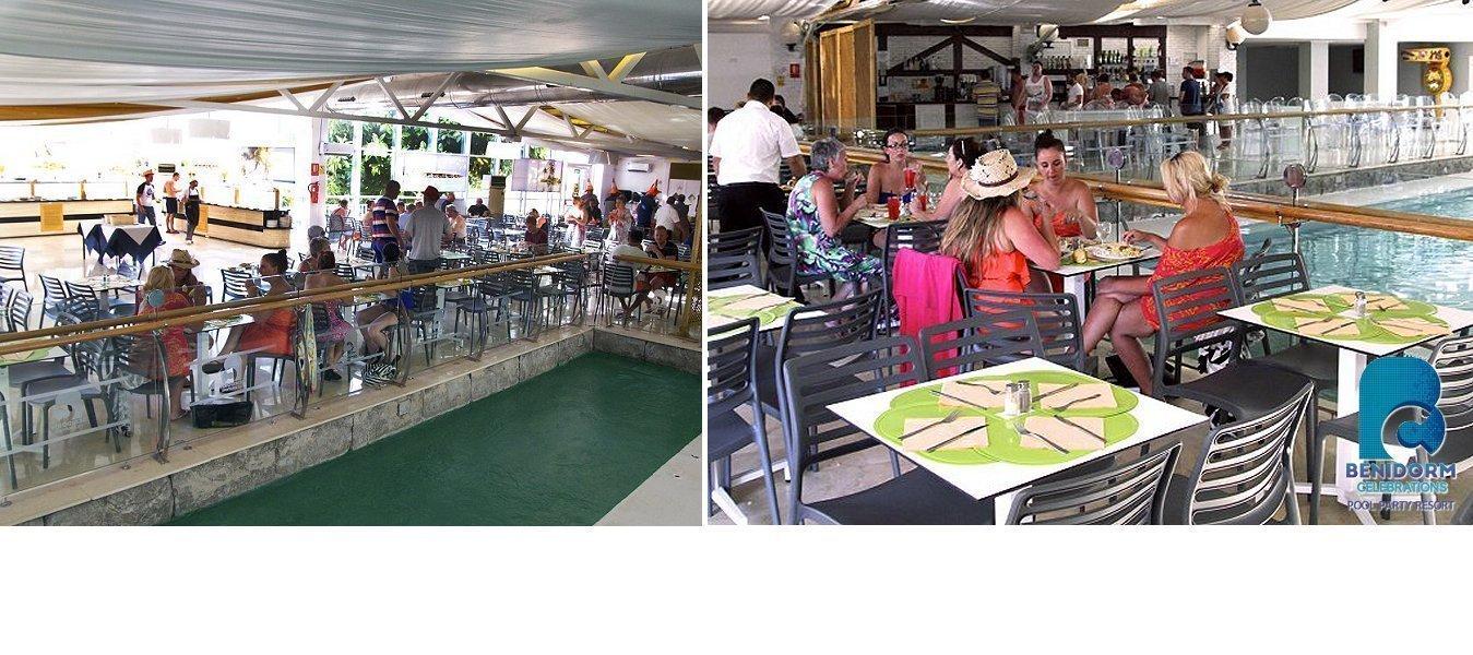 Restaurante Buffet con vistas a la piscina interior -   Benidorm Celebrations™ Pool Party Resort (Adults Only)